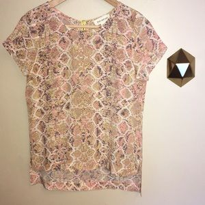 Anthropologie Fynn and Rose Pink Snake Print Top